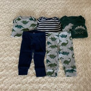 3 LS onesie and 2 pants matching separates